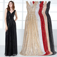 V-neck Formal Long Dress Evening Party Pageant Bridesmaid Wedding Ball Gown *