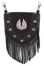 Harley-Davidson Women's Fringe Python Leather Pouch w/ Strap, Black HDWBA11352
