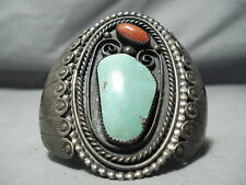 HEAVY 100 GRAM VINTAGE NAVAJO ROYSTON TURQUOISE CORAL STERLING SILVER BRACELET