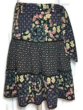 Odille Anthropologie Ruffled Skirt 8 Tiered Floral Calico Peasant Boho Tie Belt