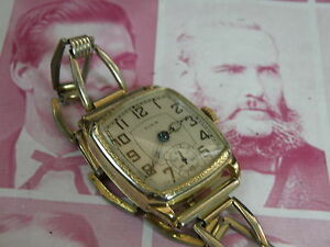 SERVICED 1930 ELGIN EIGHT SIDED ART DECO ETCHED YELLOW GOLD FILLED CASE