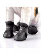 4pcs Dog Shoes Rain Boots Black Waterproof Winter Rubber Pet Anti-slip Shoes