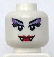 Lego New White Minifigure Head Alien Female with Red Lips Fangs Purple Eye