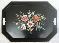 Vintage Black Toleware Serving Tray Tole Hand Painted Tin Floral Large