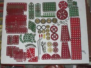 Meccano Red/Green Parts Job Lot Bundle Assortment Plates Wheels Brackets 0.9kg