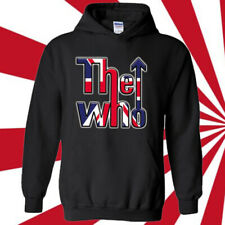 THE WHO UK Flag Logo Rock Band Legend Black Hoodie Size S-3XL