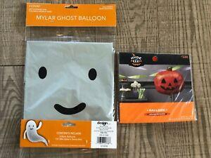 Lot/3 Mylar Silver Ghost & Pumpkin Shaped Balloons Halloween Party Decor