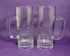 TWO (2)  TALL HEAVY LIBBEY CLEAR GLASS BEER ALE MUGS  22 OUNCE 8 INCHES TALL