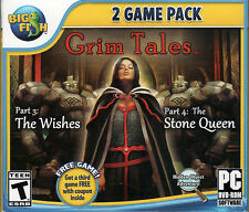 Grim Tales THE WISHES + THE STONE QUEEN + BONUS! Hidden Object PC Game DVD NEW
