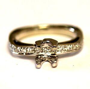 14k white gold .25CT diamond engagement semi mount ring 4.9g 4x4mm princess 7.25