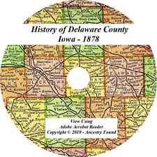 1878  DELAWARE COUNTY Iowa IA - History Genealogy - Manchester Dyersville IA CD