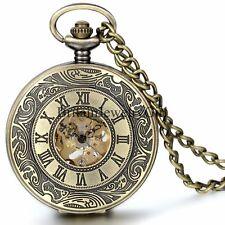 Steampunk Roman Numerals Bronze Pocket Watch Mechanical Hand-winding Gift