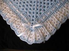Hand-Crochet Blue & White Square Baby Blanket Afghan