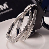 New Fashion Women Lady Crystal Rhinestone Hoop Round Big Earrings Ear Stud Style