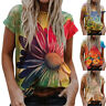 Womens Summer Short Sleeve Floral Print T-Shirt Ladies Casual Loose Tops Tunic
