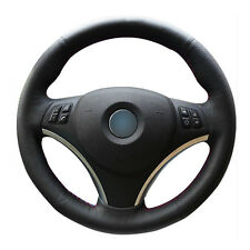 DIY Steering Wheel Cover Black Leather Hand Sewing For BMW E90 320i 325i 330i