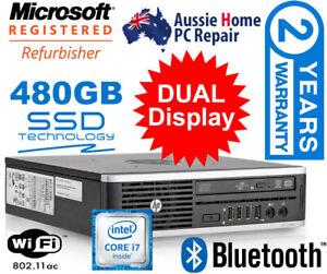 i7 HP 'NUC' STYLE TINY PC. SUPER FAST B/NEW 480GB SSD. DUAL DISPLAY. 10 PRO.