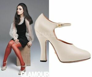 GUCCI SHOES WHITE LEATHER LESLEY MARY JANE PUMPS GG PEARL DETAIL $850 sz 39 US 9
