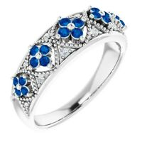 Genuine Blue Sapphires Diamonds Floral Style Band Ring 925 Sterling Silver Sz 7