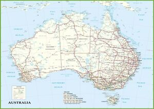 Detailed Map of Australia Roads Poster Print Choose your size Unframed.