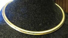 OMEGA CHOKER NECKLACE CHAIN, 10K SOLID YELLOW GOLD 6MM WIDE / 15.75 INCHES LONG