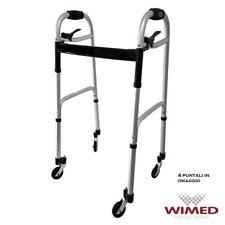 Deambulatore girello per anziani con 4 ruote piroettanti e 4 puntali