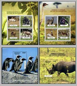 2014 Togo, fauna,  animals, Rhino, penguins, 2 SS+ 2 sheets, MNH