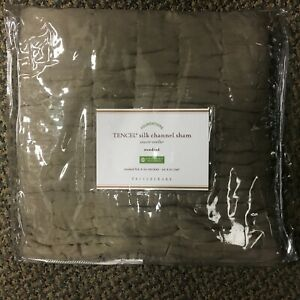 NEW Pottery Barn Tencel Cotton Silk Channel Pillow Sham Cover Standard Brown NIP