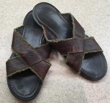 ALDO Mens Slip On Sandals Brown Cross Over Leather Straps 45/12