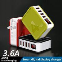 AU_ 48W 2/4 USB Ports Digital Display Folding Plug QC4.0 Wall Charger Adapter