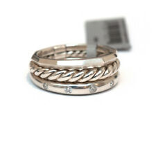New DAVID YURMAN 9mm Stax Narrow Ring in Sterling Silver & Diamond Size 7