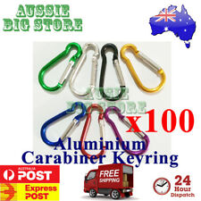 100x Carabiner Clip Key Ring Holder Chain Cable Hiking Hook Lock Camping D Shape