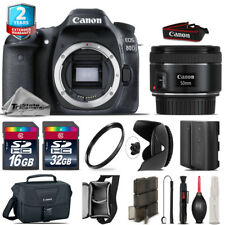 Canon EOS 80D DSLR + 50mm f/1.8 IS STM + Tulip Hood + Extra Battery - 48GB Kit