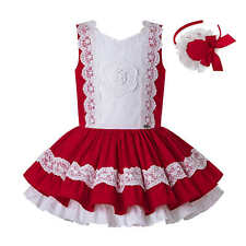 Spanish Girls Princess Lace Dresses With Headband Wedding Party Pageant Summer