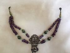 Statement necklace, beaded silver bronze purple choker dangling stoned ethnic