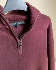 Jaeger maroon thick-knit cotton half-zip pullover