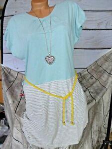 Mazine Robe Femmes Bleu Gris Rayé Ceinture Décorative (114) Neuf