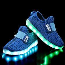LED Trainers Shoes Boys Girls Light up USB Charger Luminous Kids Casual SNEAKERS Blue EUR 36