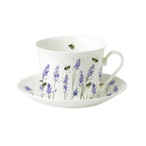 Roy Kirkham Bees with Lavender Breakfast Cup and Saucer Tea Cup Large China Gift