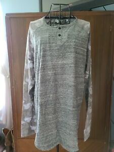 Univibe Men's Mash Up Henley Shirt Gray XL