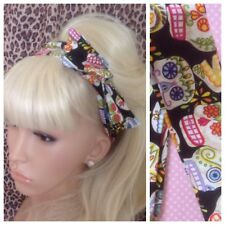 NEW BLACK CANDY SUGAR SKULL BENDY WIRE BOW HAIR SCARF HEAD BAND RETRO ROCKABILLY