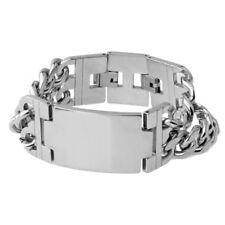 23mm Wide Silver Stainless Steel Women Men Bracelet Classic Polishing ID Jewelry