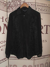 FRENCH CONNECTION, SIZE 12, BNWT,  BLACK, LACE PANEL FRONT, BUTTON DOWN SHIRT