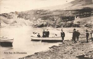 1909 ILFRACOMBE  Hele Bay Boating Party  Devon  Osborn & Co Postcard