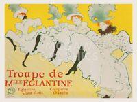 La Troupe de Mademoiselle Églantine, 1896 Henri de Toulouse Lautrec Print 26x20