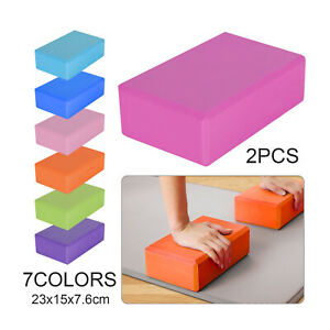 2 x Yoga Block EVA Foaming Foam Brick Pilates Exercise Gym Fitness Up Stretching