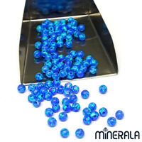 BLUE SYNTHETIC LAB CREATED OPAL ROUND BEADS FULL DRILL VARIOUS SIZES WP001C3