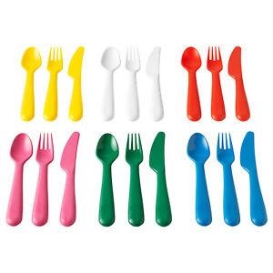 IKEA 18 PIECE KIDS PICNIC CUTLERY SET KNIFE FORKS BOLD COLOURS
