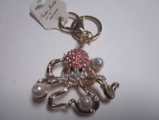 FASHION JEWELRY RHINESTONE CRYSTAL BEADS OCTOPUS HOLDING PEARLS KEY CHAIN
