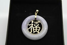 BRAND NEW Gold Lavender Jade Pendant Solid 14ct Chinese HUGE ITEM